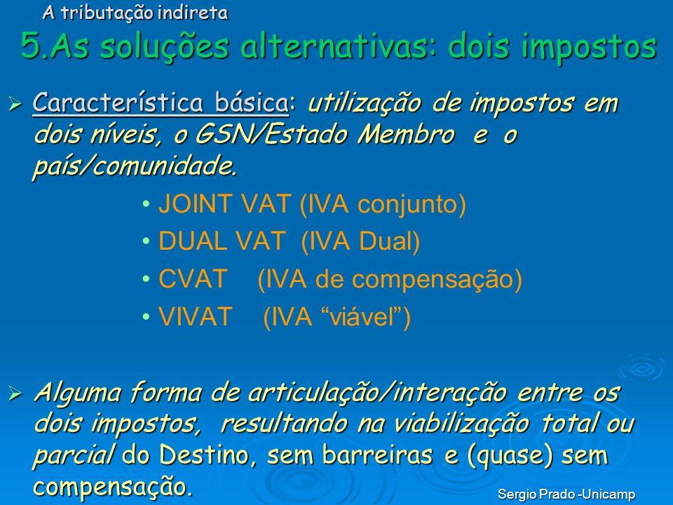 Sergio Prado -Unicamp Característica básica: utilização de impostos em dois níveis, o GSN/Estado Membro e o país/comunidade. Característica básica: ut