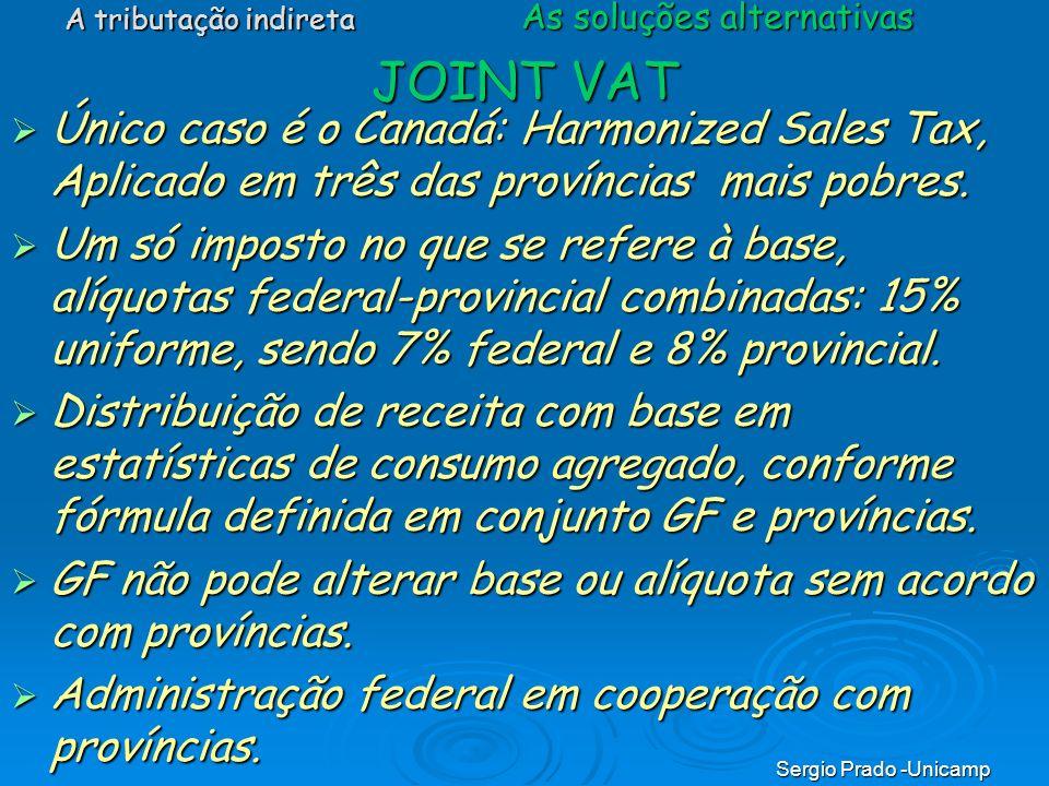 Sergio Prado -Unicamp JOINT VAT Único caso é o Canadá: Harmonized Sales Tax, Aplicado em três das províncias mais pobres. Único caso é o Canadá: Harmo