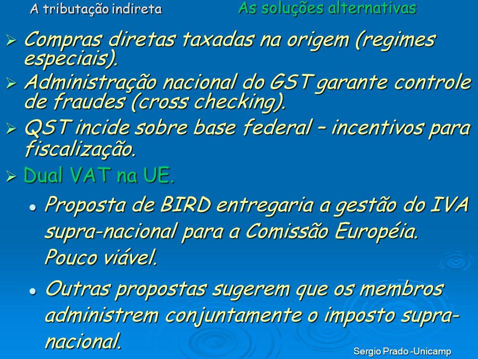 Sergio Prado -Unicamp Compras diretas taxadas na origem (regimes especiais). Compras diretas taxadas na origem (regimes especiais). Administração naci