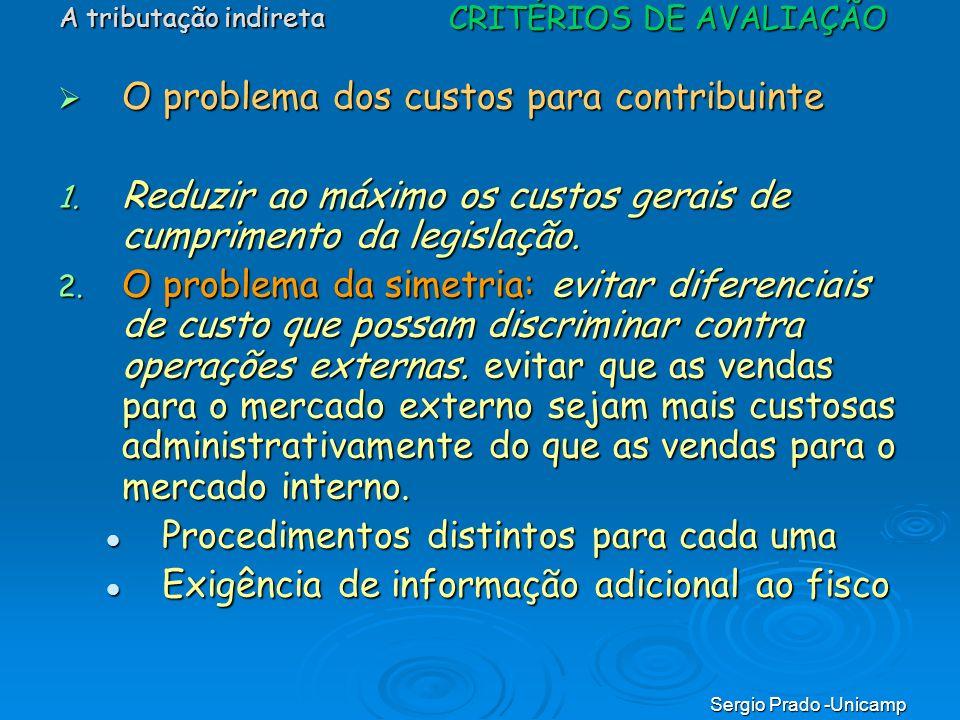 Sergio Prado -Unicamp O problema dos custos para contribuinte O problema dos custos para contribuinte 1. Reduzir ao máximo os custos gerais de cumprim