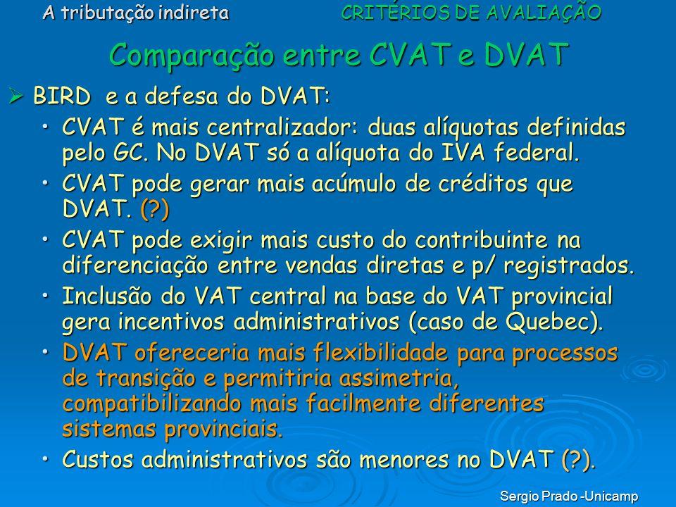Sergio Prado -Unicamp Comparação entre CVAT e DVAT BIRD e a defesa do DVAT: BIRD e a defesa do DVAT: CVAT é mais centralizador: duas alíquotas definid