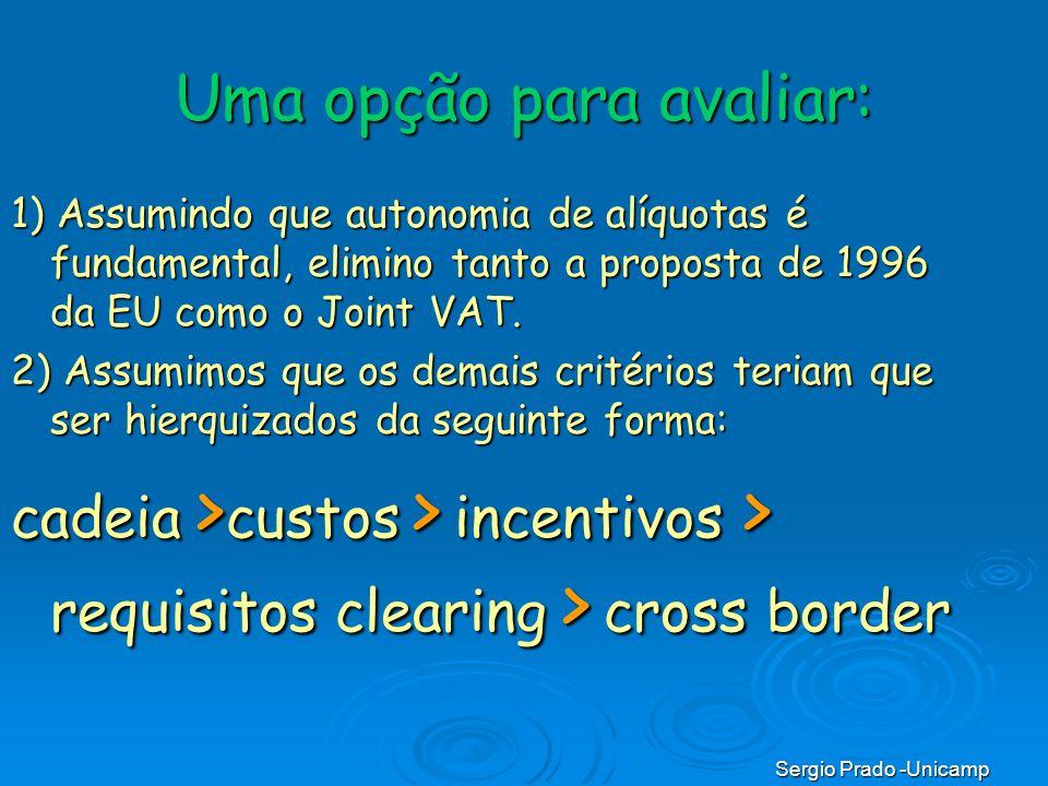Sergio Prado -Unicamp Uma opção para avaliar: 1) Assumindo que autonomia de alíquotas é fundamental, elimino tanto a proposta de 1996 da EU como o Joi