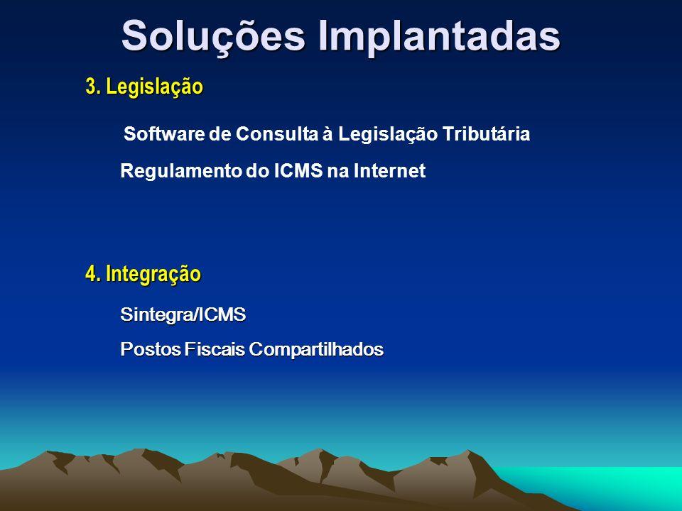 Soluções Implantadas Software de Consulta à Legislação Tributária Regulamento do ICMS na Internet 3.