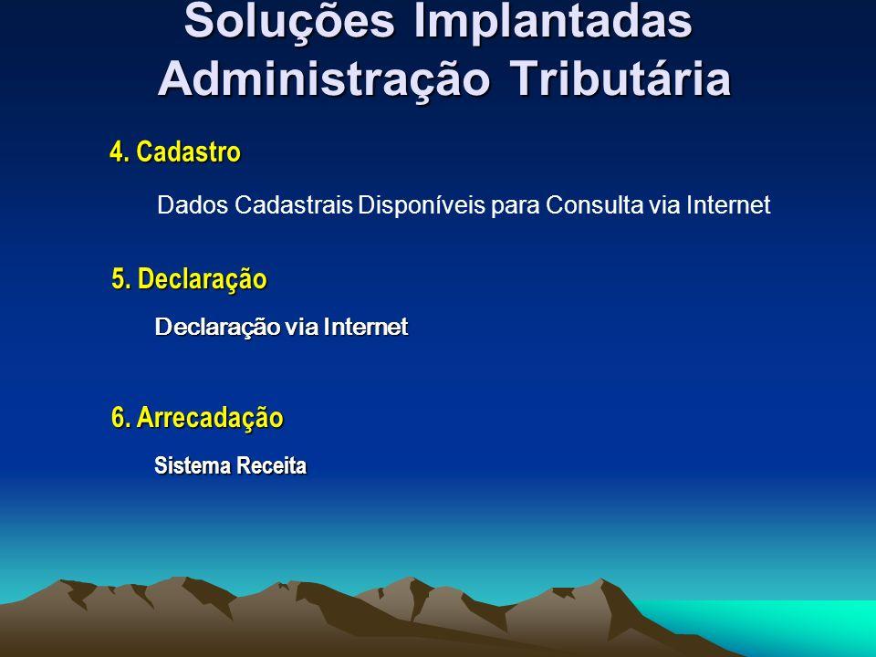 Soluções Implantadas Administração Tributária Dados Cadastrais Disponíveis para Consulta via Internet 4.