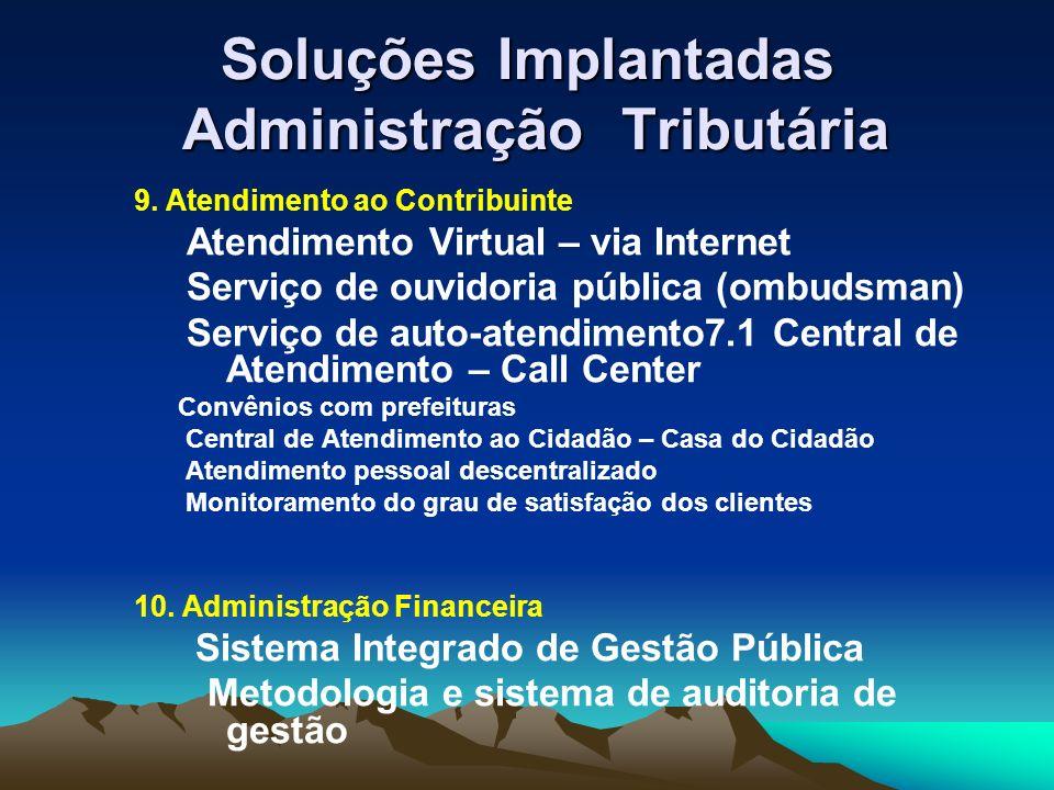 Soluções Implantadas Administração Tributária 9.