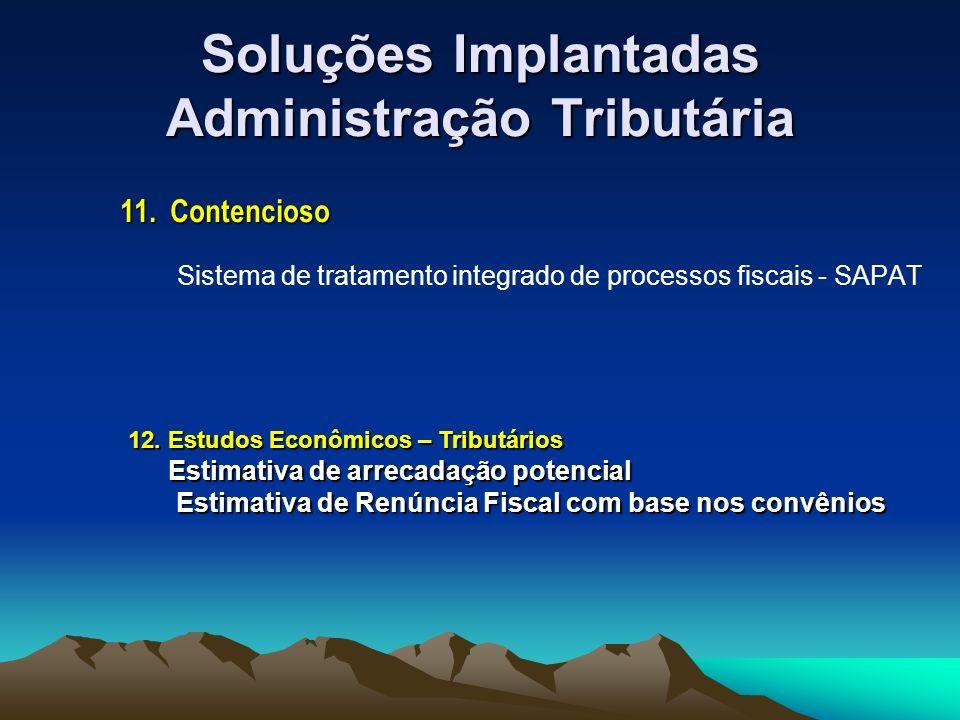 Soluções Implantadas Administração Tributária Sistema de tratamento integrado de processos fiscais - SAPAT 11.