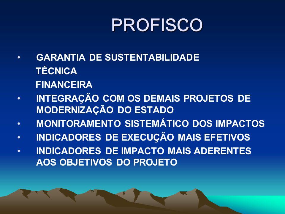 PROFISCO GARANTIA DE SUSTENTABILIDADE TÉCNICA FINANCEIRA INTEGRAÇÃO COM OS DEMAIS PROJETOS DE MODERNIZAÇÃO DO ESTADO MONITORAMENTO SISTEMÁTICO DOS IMPACTOS INDICADORES DE EXECUÇÃO MAIS EFETIVOS INDICADORES DE IMPACTO MAIS ADERENTES AOS OBJETIVOS DO PROJETO