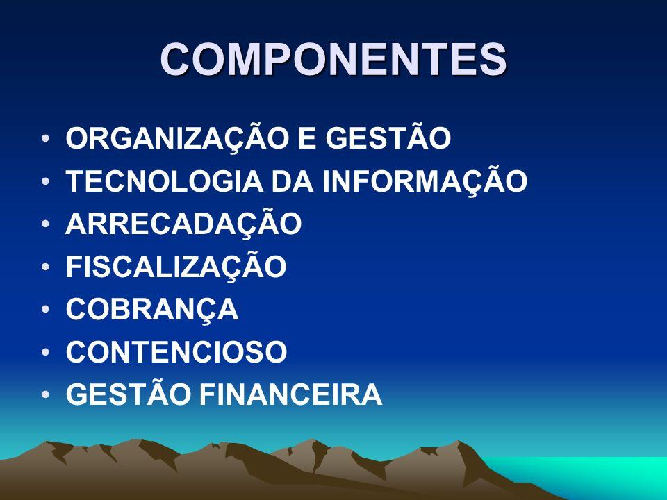 COMPONENTES ORGANIZAÇÃO E GESTÃO TECNOLOGIA DA INFORMAÇÃO ARRECADAÇÃO FISCALIZAÇÃO COBRANÇA CONTENCIOSO GESTÃO FINANCEIRA