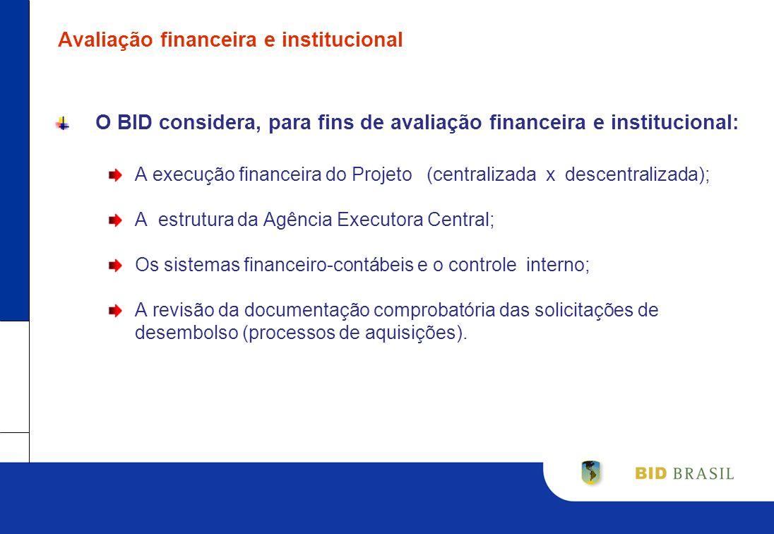 Avaliação financeira e institucional O BID considera, para fins de avaliação financeira e institucional: A execução financeira do Projeto (centralizad