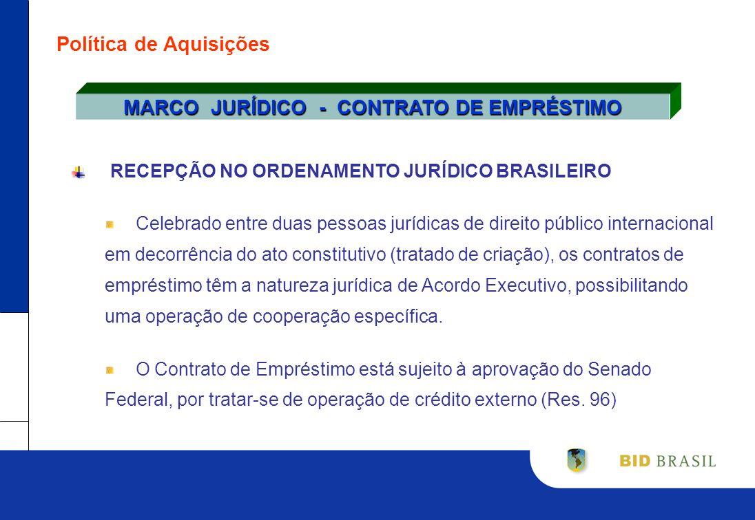 Política de Aquisições RECEPÇÃO NO ORDENAMENTO JURÍDICO BRASILEIRO Celebrado entre duas pessoas jurídicas de direito público internacional em decorrên