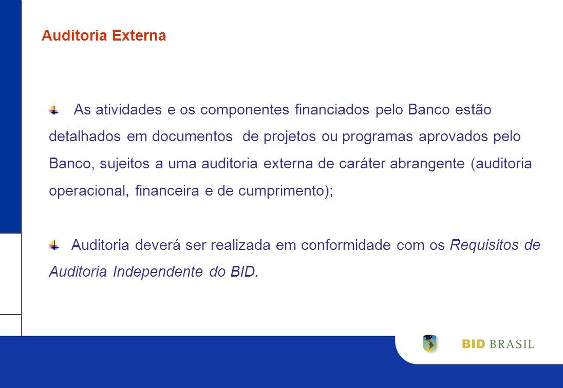 Auditoria Externa As atividades e os componentes financiados pelo Banco estão detalhados em documentos de projetos ou programas aprovados pelo Banco,