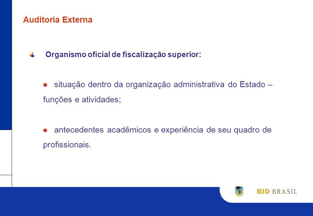Auditoria Externa Organismo oficial de fiscalização superior : situação dentro da organização administrativa do Estado – funções e atividades; anteced