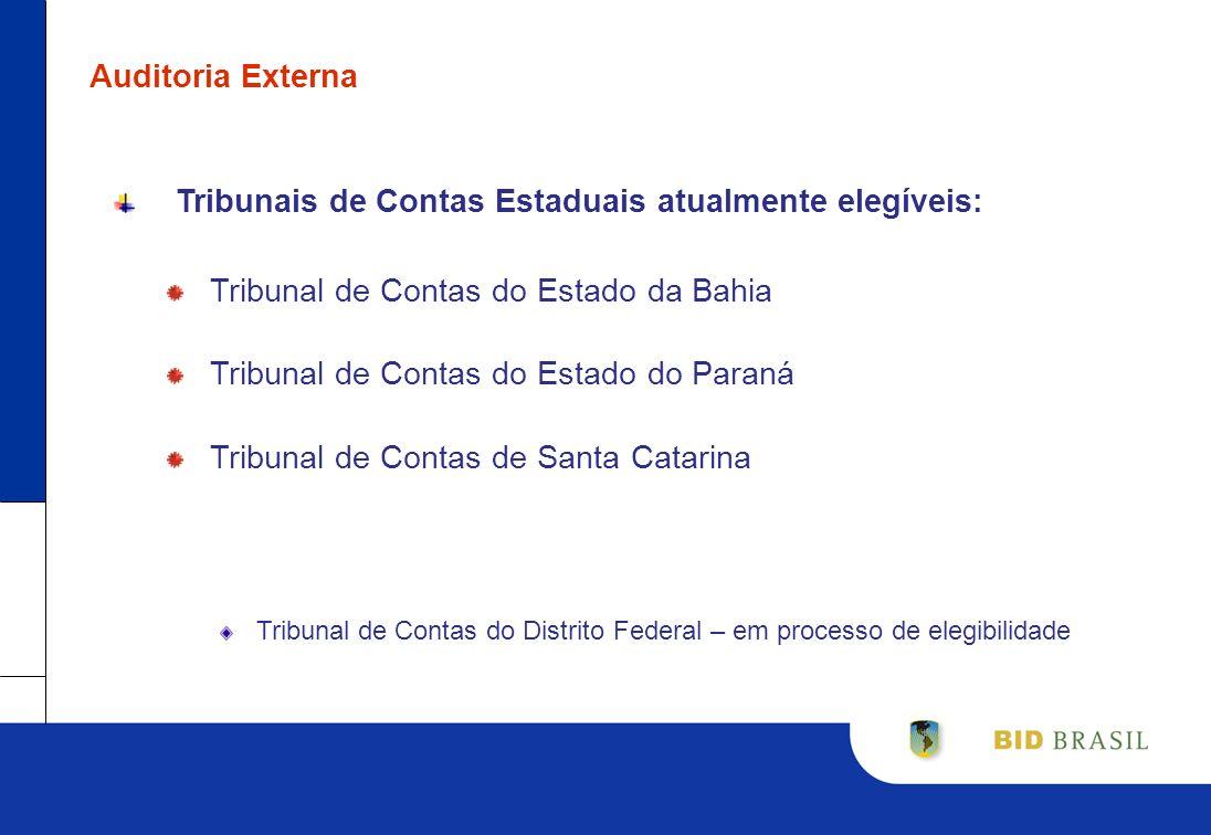 Auditoria Externa Tribunais de Contas Estaduais atualmente elegíveis: Tribunal de Contas do Estado da Bahia Tribunal de Contas do Estado do Paraná Tri