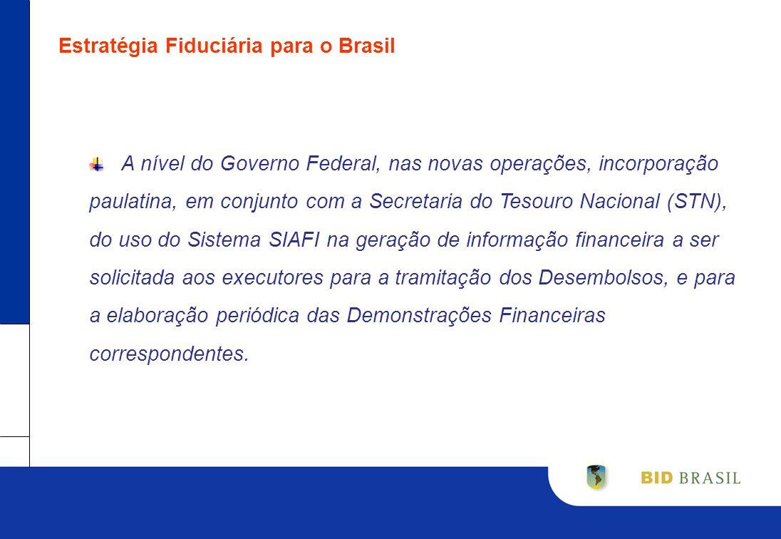 Estratégia Fiduciária para o Brasil A nível do Governo Federal, nas novas operações, incorporação paulatina, em conjunto com a Secretaria do Tesouro N