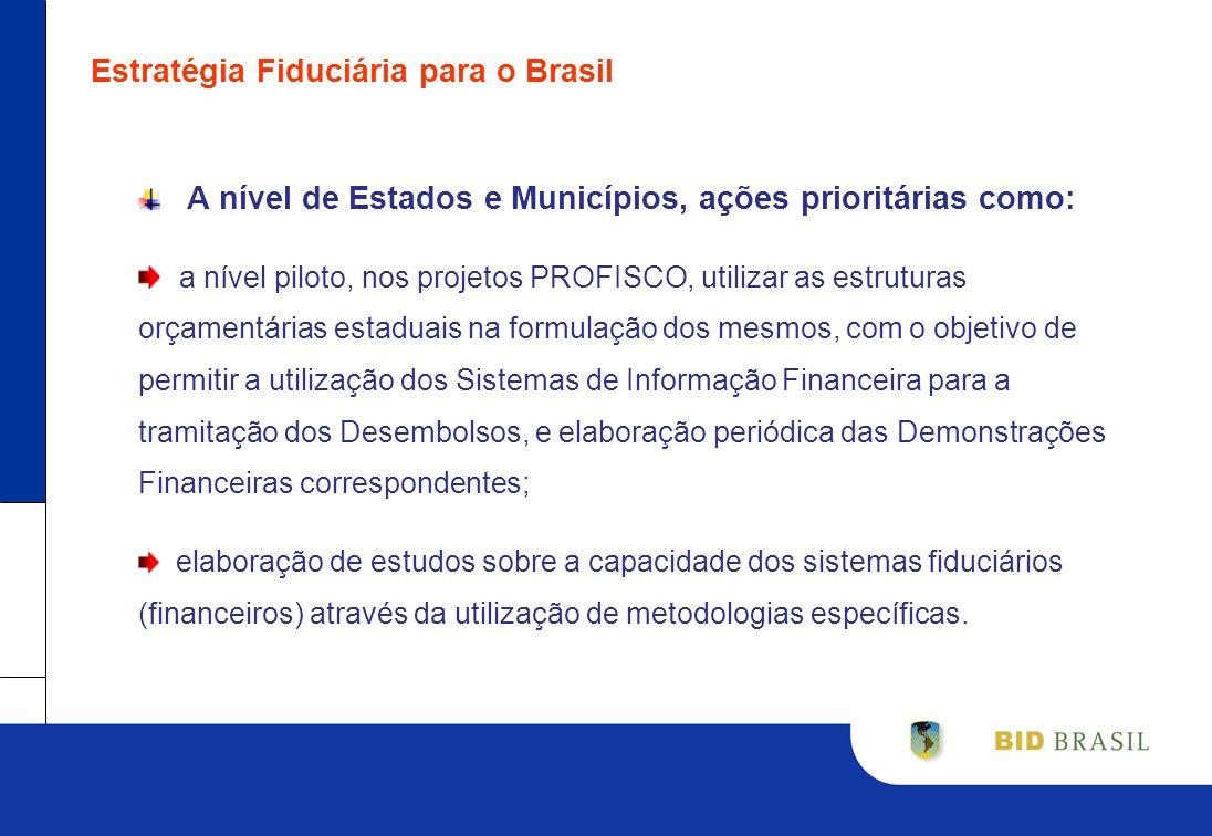 Estratégia Fiduciária para o Brasil A nível de Estados e Municípios, ações prioritárias como: a nível piloto, nos projetos PROFISCO, utilizar as estru