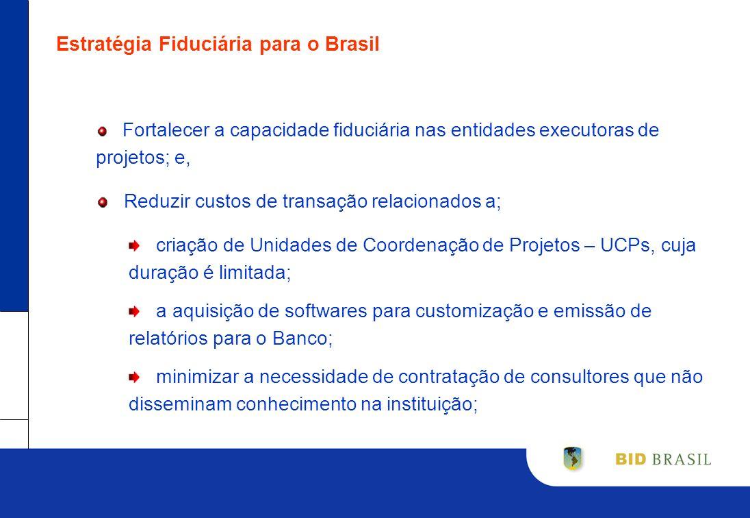 Estratégia Fiduciária para o Brasil Fortalecer a capacidade fiduciária nas entidades executoras de projetos; e, Reduzir custos de transação relacionad