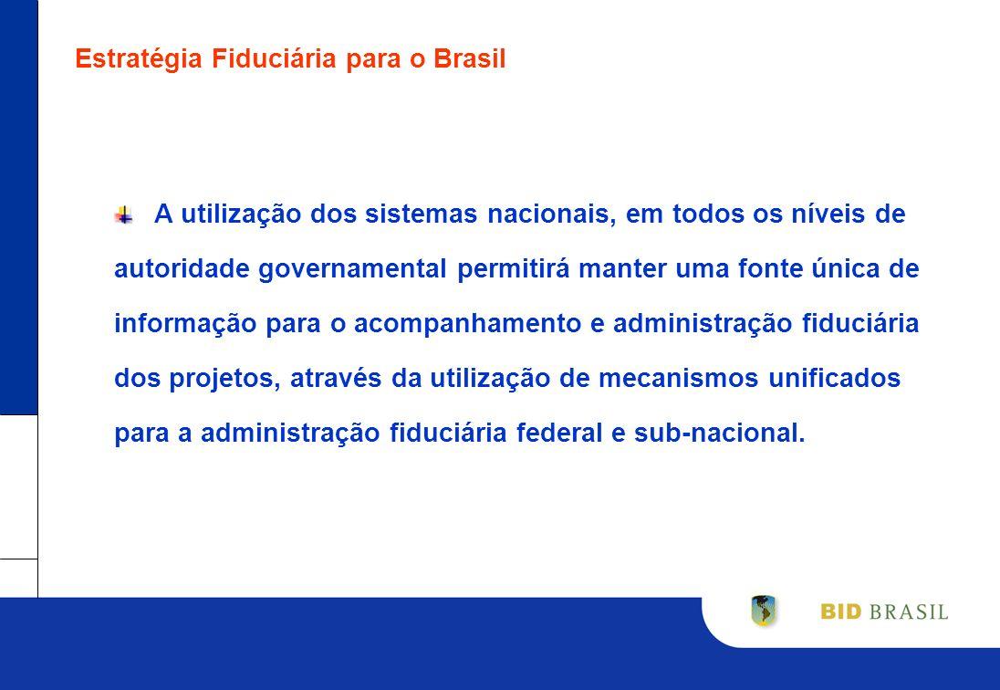 Estratégia Fiduciária para o Brasil A utilização dos sistemas nacionais, em todos os níveis de autoridade governamental permitirá manter uma fonte úni
