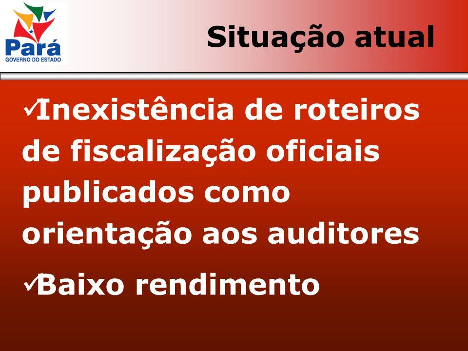 Inexistência de roteiros de fiscalização oficiais publicados como orientação aos auditores Baixo rendimento Situação atual