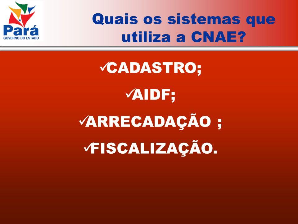 CADASTRO; AIDF; ARRECADAÇÃO ; FISCALIZAÇÃO. Quais os sistemas que utiliza a CNAE?
