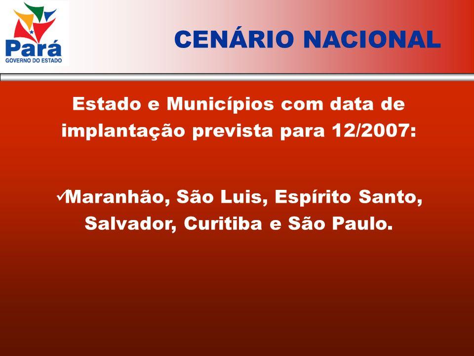 Estado e Municípios com data de implantação prevista para 12/2007: Maranhão, São Luis, Espírito Santo, Salvador, Curitiba e São Paulo.
