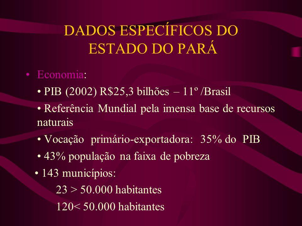 DADOS ESPECÍFICOS DO ESTADO DO PARÁ Economia: PIB (2002) R$25,3 bilhões – 11º /Brasil Referência Mundial pela imensa base de recursos naturais Vocação