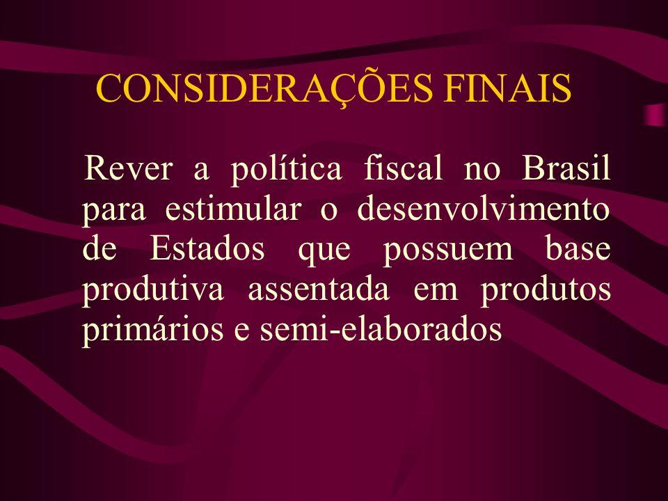 CONSIDERAÇÕES FINAIS Rever a política fiscal no Brasil para estimular o desenvolvimento de Estados que possuem base produtiva assentada em produtos pr
