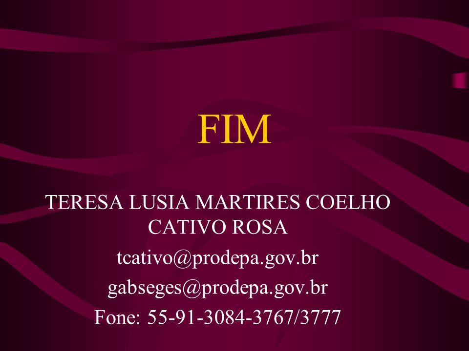 FIM TERESA LUSIA MARTIRES COELHO CATIVO ROSA tcativo@prodepa.gov.br gabseges@prodepa.gov.br Fone: 55-91-3084-3767/3777
