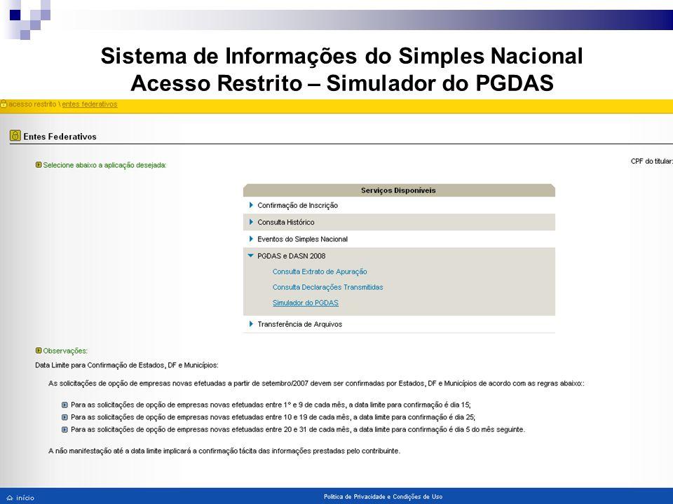 Sistema de Informações do Simples Nacional Acesso Restrito – Simulador do PGDAS