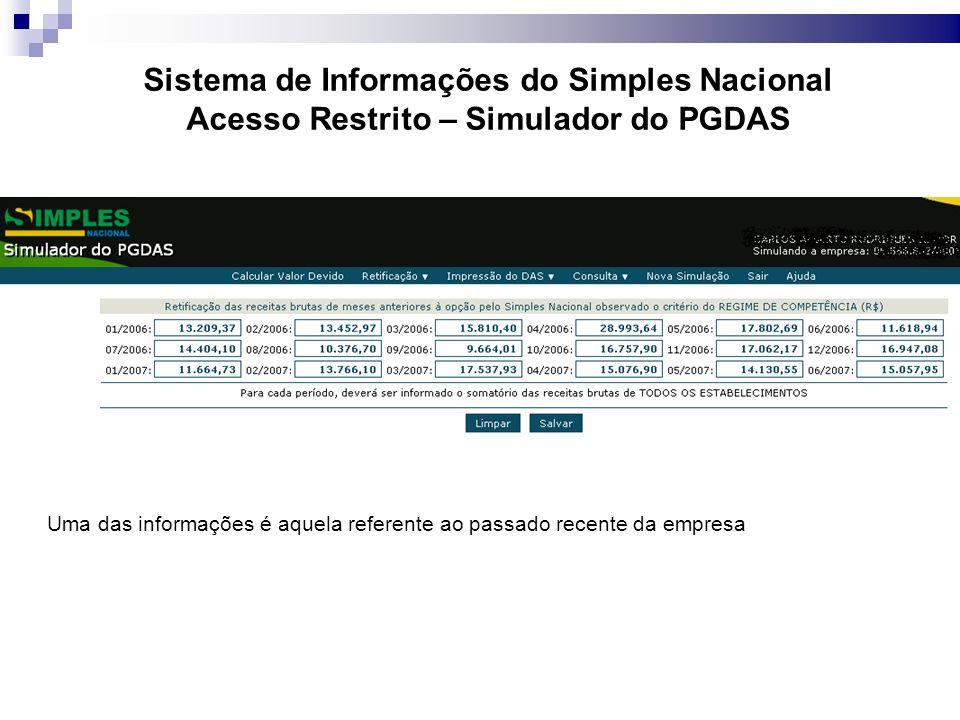 Sistema de Informações do Simples Nacional Acesso Restrito – Simulador do PGDAS Uma das informações é aquela referente ao passado recente da empresa