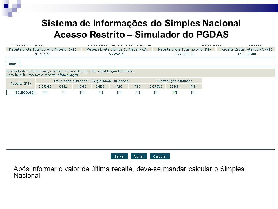 Sistema de Informações do Simples Nacional Acesso Restrito – Simulador do PGDAS Após informar o valor da última receita, deve-se mandar calcular o Simples Nacional