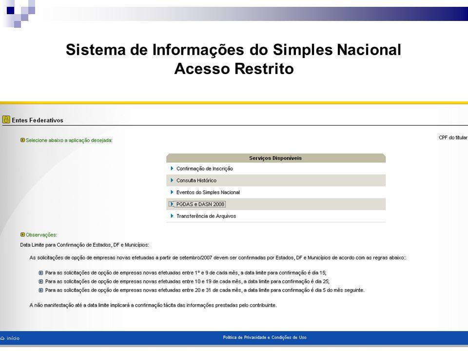 Sistema de Informações do Simples Nacional Acesso Restrito