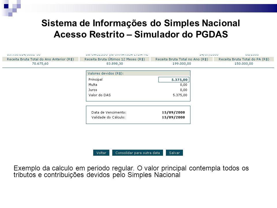 Sistema de Informações do Simples Nacional Acesso Restrito – Simulador do PGDAS Exemplo da calculo em periodo regular.