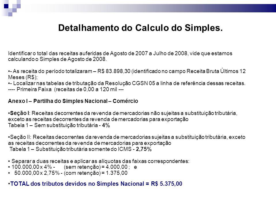 Detalhamento do Calculo do Simples.