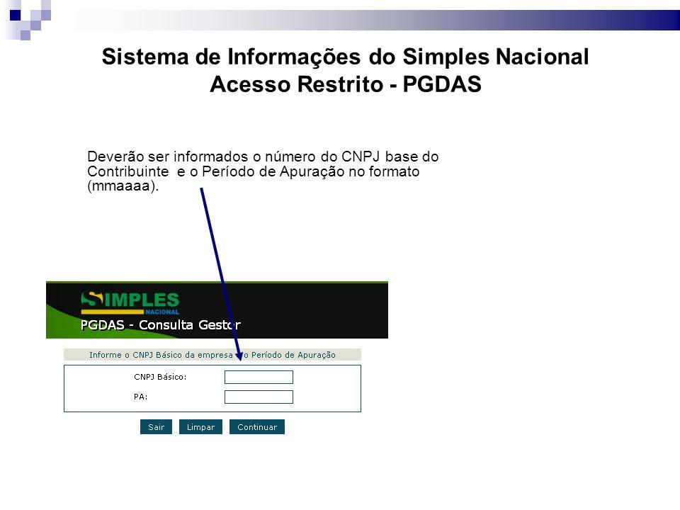 Sistema de Informações do Simples Nacional Acesso Restrito - PGDAS Deverão ser informados o número do CNPJ base do Contribuinte e o Período de Apuração no formato (mmaaaa).