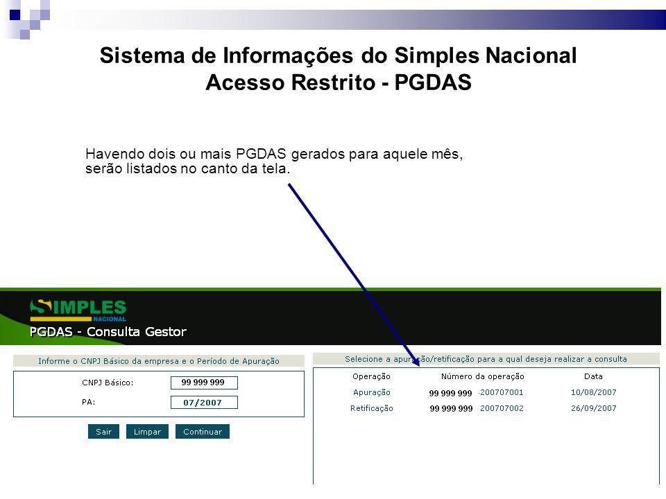 Sistema de Informações do Simples Nacional Acesso Restrito - PGDAS Havendo dois ou mais PGDAS gerados para aquele mês, serão listados no canto da tela.