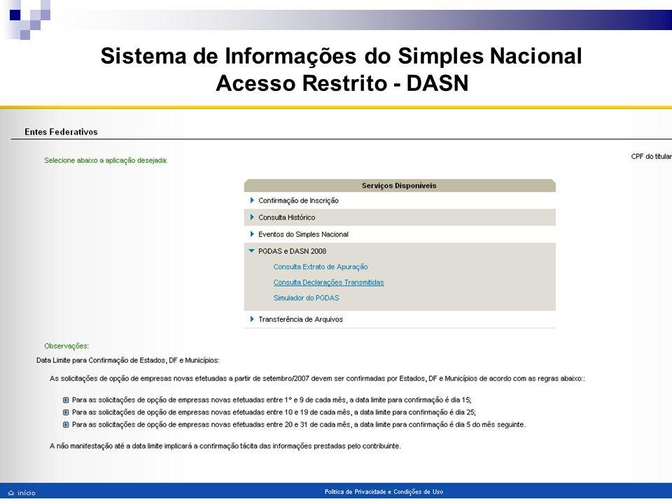 Sistema de Informações do Simples Nacional Acesso Restrito - DASN