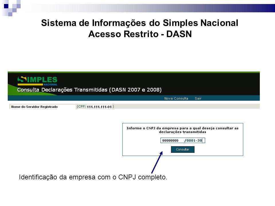 Identificação da empresa com o CNPJ completo.