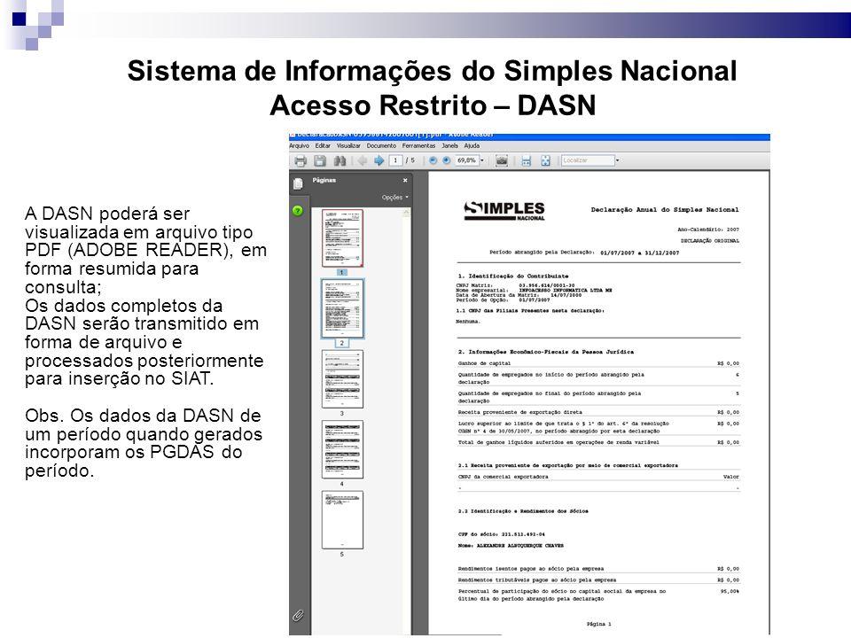 Sistema de Informações do Simples Nacional Acesso Restrito – DASN A DASN poderá ser visualizada em arquivo tipo PDF (ADOBE READER), em forma resumida para consulta; Os dados completos da DASN serão transmitido em forma de arquivo e processados posteriormente para inserção no SIAT.