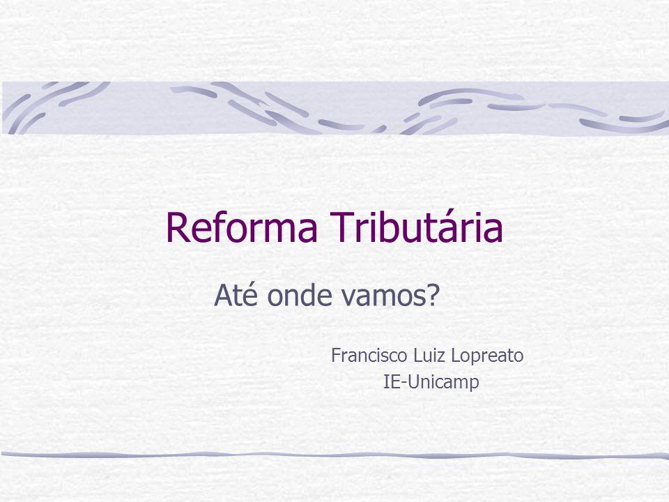 Reforma Tributária Até onde vamos? Francisco Luiz Lopreato IE-Unicamp