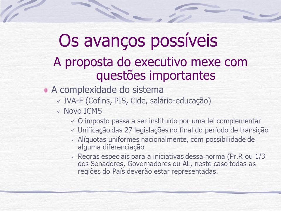 Os avanços possíveis A proposta do executivo mexe com questões importantes A complexidade do sistema IVA-F (Cofins, PIS, Cide, salário-educação) Novo