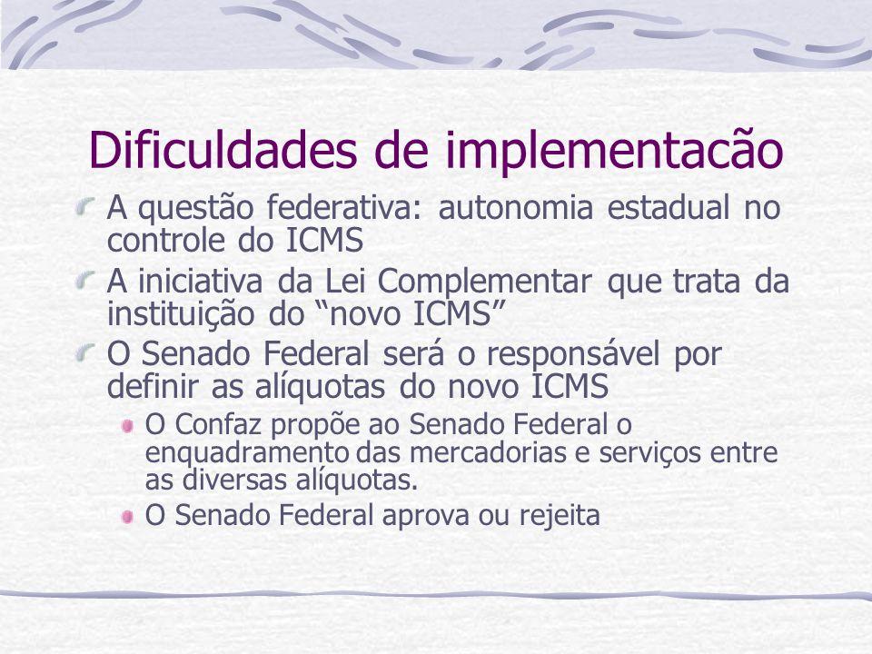 Dificuldades de implementacão A questão federativa: autonomia estadual no controle do ICMS A iniciativa da Lei Complementar que trata da instituição d