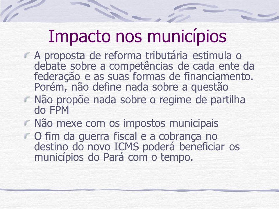 Impacto nos municípios A proposta de reforma tributária estimula o debate sobre a competências de cada ente da federação e as suas formas de financiam