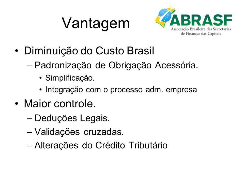 Vantagem Diminuição do Custo Brasil –Padronização de Obrigação Acessória. Simplificação. Integração com o processo adm. empresa Maior controle. –Deduç
