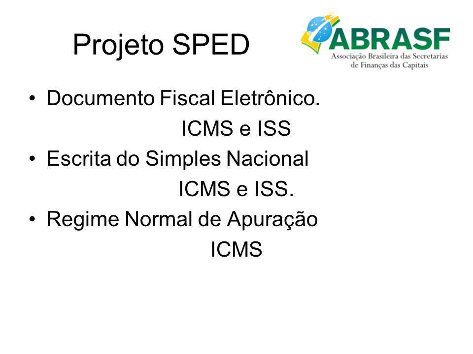 Projeto SPED Documento Fiscal Eletrônico. ICMS e ISS Escrita do Simples Nacional ICMS e ISS. Regime Normal de Apuração ICMS