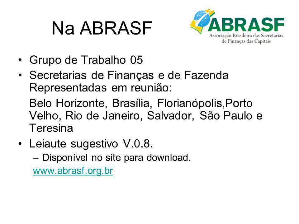 Na ABRASF Grupo de Trabalho 05 Secretarias de Finanças e de Fazenda Representadas em reunião: Belo Horizonte, Brasília, Florianópolis,Porto Velho, Rio