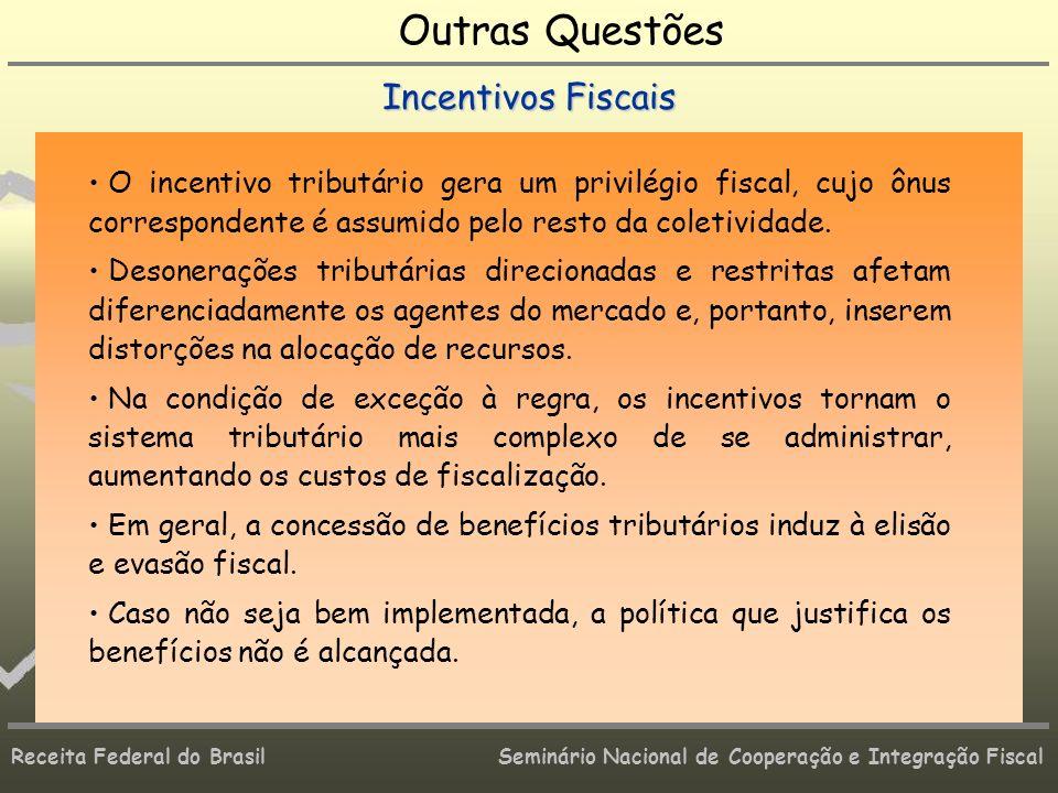 Receita Federal do Brasil Seminário Nacional de Cooperação e Integração Fiscal Outras Questões Incentivos Fiscais O incentivo tributário gera um privi