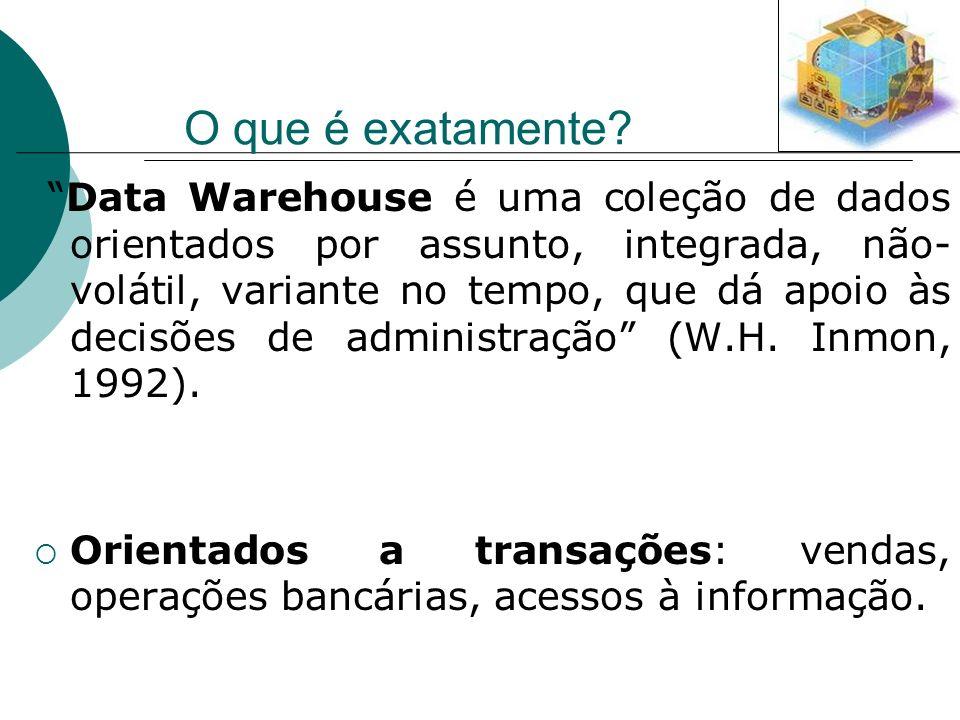 O que é exatamente? Data Warehouse é uma coleção de dados orientados por assunto, integrada, não- volátil, variante no tempo, que dá apoio às decisões