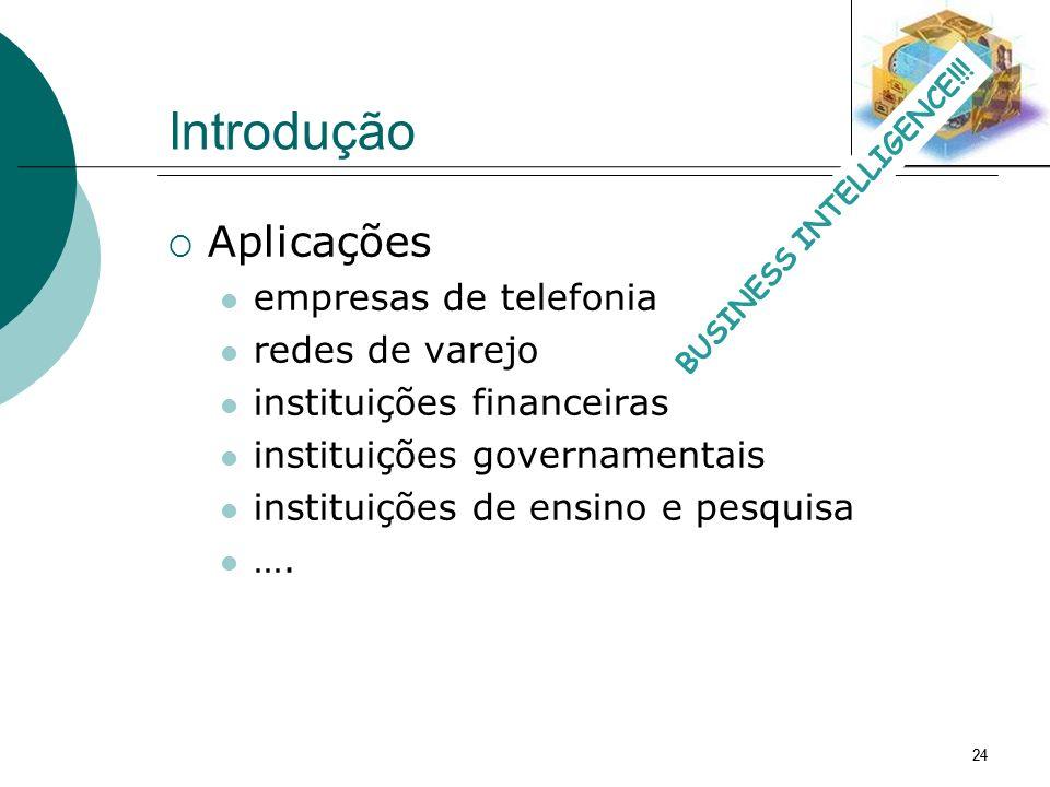 24 Introdução Aplicações empresas de telefonia redes de varejo instituições financeiras instituições governamentais instituições de ensino e pesquisa