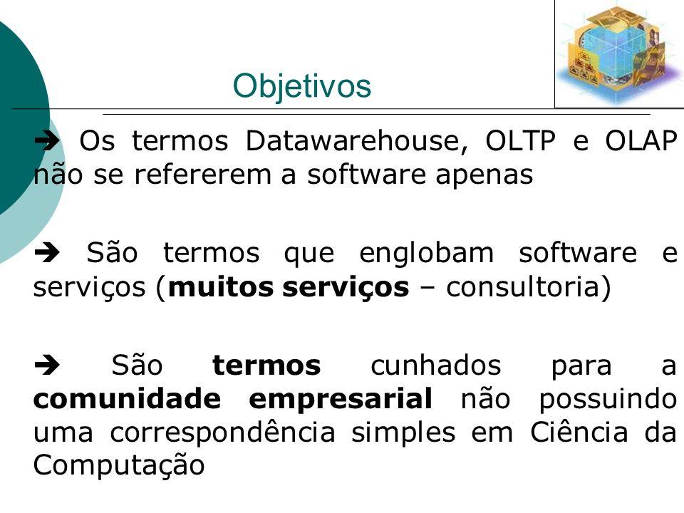 Objetivos Os termos Datawarehouse, OLTP e OLAP não se refererem a software apenas São termos que englobam software e serviços (muitos serviços – consu