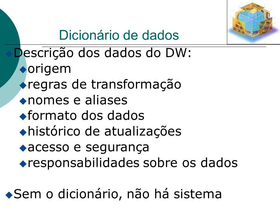 Dicionário de dados u Descrição dos dados do DW: u origem u regras de transformação u nomes e aliases u formato dos dados u histórico de atualizações